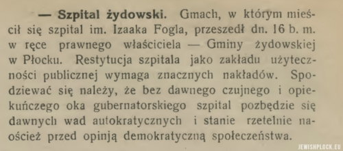 "Press information about the return of the hospital building property to the Jewish commune in Płock  (""Tydzień Płocki"" no. 16, 19.06.1924, p. 6)"