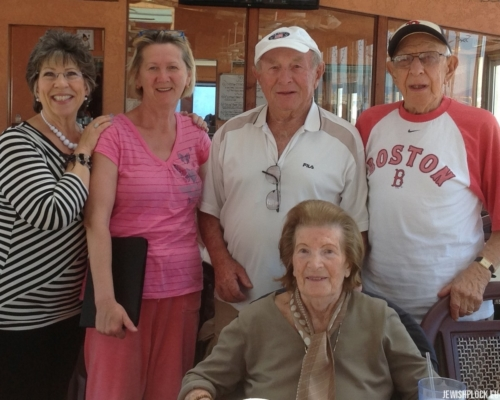 Jack (Icek) Nierób in the company of Sam Brygart, Rita Brygart, Sandra Brygart Rodriguez and his caretaker Kathy.