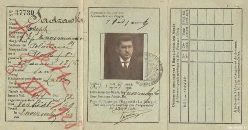 Dokument tożsamości Józefa Sadzawki