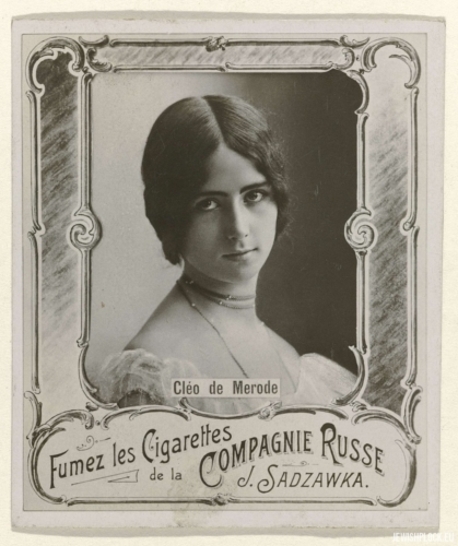 Cigarette box label of the factory of Józef Sadzawka with the image of the French dancer Cléo de Mérode; source: www.europeana.eu