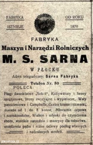 Press advertisement of the M.S. Sarna Agricultural Machines and Tools Factory