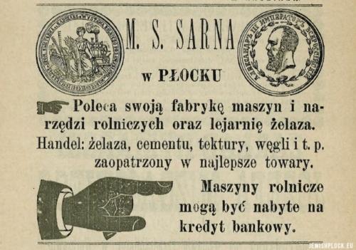 Reklama prasowa Fabryki Maszyn i Narzędzi Rolniczych M.S. Sarna