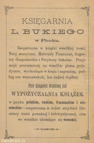 Press advertisement of the bookstore of Mejer Lejb Buki in Płock