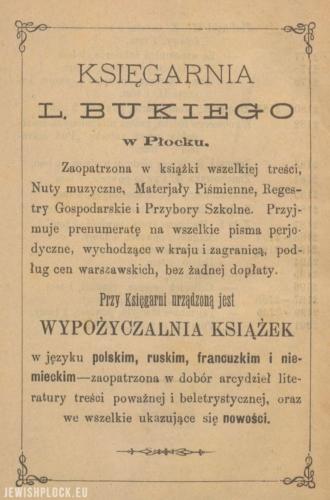 Reklama prasowa księgarni Mejera Lejby Bukiego w Płocku