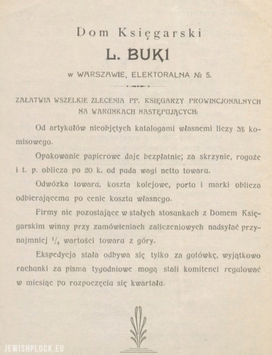 Press advertisement of the Book and Expeditionary  of mejer lejb Buki in Warsaw (source: Polona)