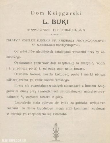 Reklama prasowa Domu Księgarskiego Komisowo-Ekspedycyjnego Mejera Lejby Bukiego w Warszawie (źródło: Polona)