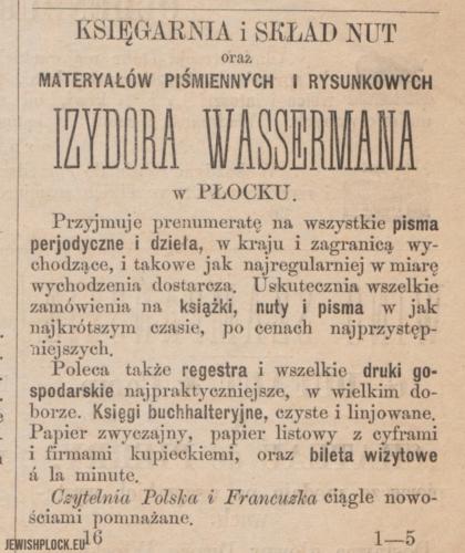 Reklama prasowa księgarni Izydora Wassermana w Płocku
