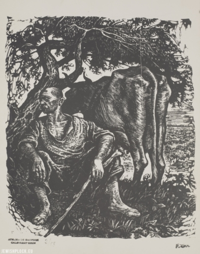 "Fiszel Zylberberg, graphic art, ""Dairy farmer with a cow""(source: Polona/National Library)"