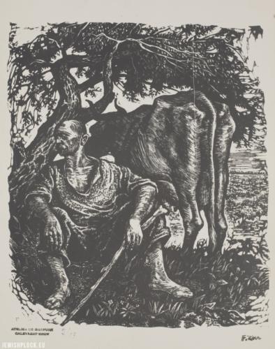 """Fiszel Zylberberg, grafika, """"Mleczarz z krową"""" (źródło: Polona/Biblioteka Narodowa)"""